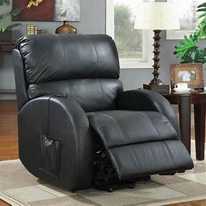 Coaster Leather Power Lift Recliner In Black 600416