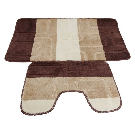 5 bathroom rug set 2 square design bath mat and pedestal mat set 5