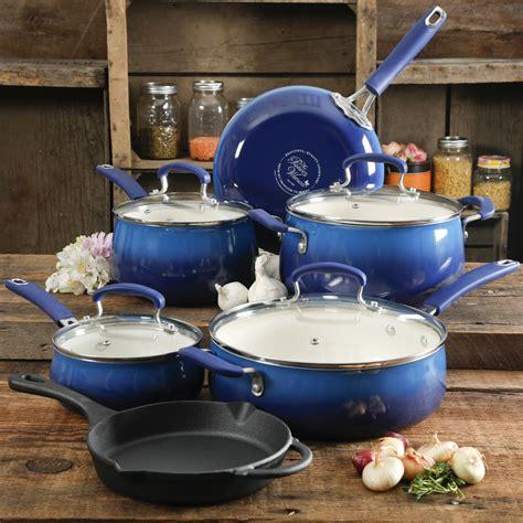 pioneer woman  stick  piece cookware set  skillet cobalt blue   ebay