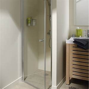 Porte de douche pivotante 70 cm transparent flexa for Porte douche 70 cm leroy merlin