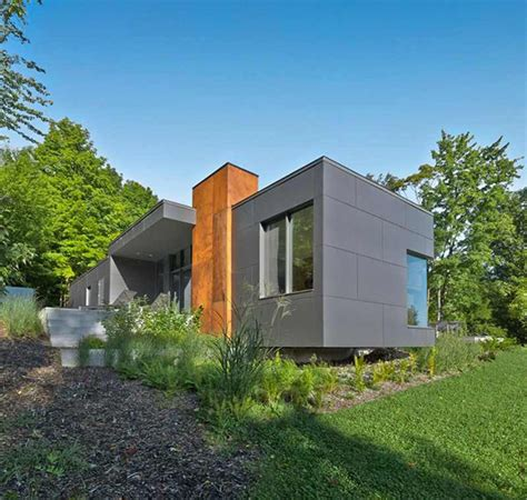 house  modern family retreat  quebec canada home