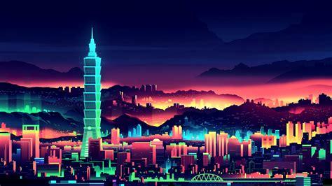 wallpaper taipei taiwan taipei  night artwork hd