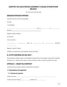 contrat de location gratuit  imprimer modele
