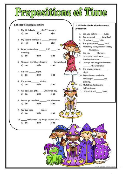 prepositions  time worksheet  esl printable