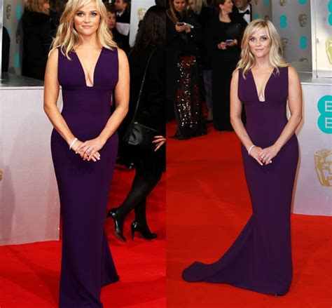 Reese Witherspoon Dress Purple Red Carpet Gowns V Neck