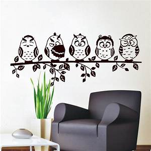 Aliexpress.com : Buy Five Coffee Baby Owl Wall Decal PVC ...