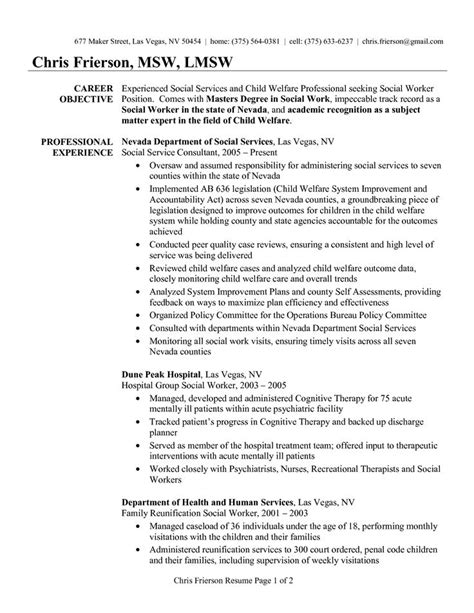 sle social work resume career objective experience in