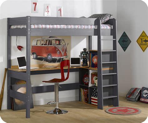 lit mezzanine avec bureau lit mezzanine clay gris anthracite avec bureau