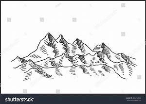 Snowy Mountain Landscape Sketch Drawing Extreme Stock ...