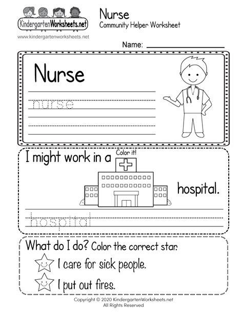 nurse  community helpers worksheet  kindergarten