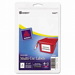 avery 5444 removable multi use labels 2 x 4 white 100 With avery 5444 template