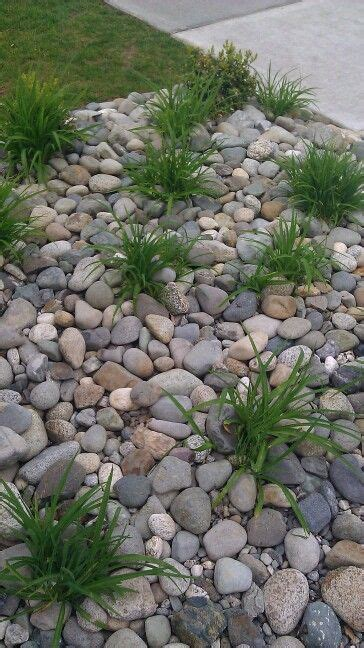 replace front yard flower beds  river rock home rock garden design rock flower beds