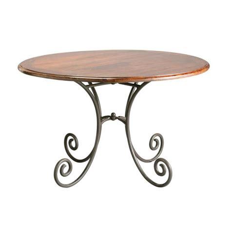 table ronde de salle 224 manger en bois de sheesham massif et fer forg 233 d 120 cm luberon maisons