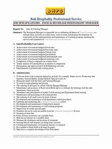 fb restaurant manager job specification template With documents manager job description