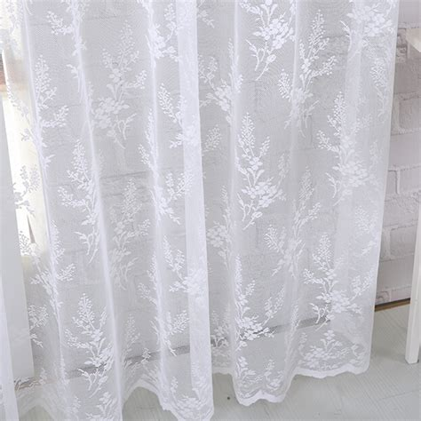 white floral patterned yarn lace curtains