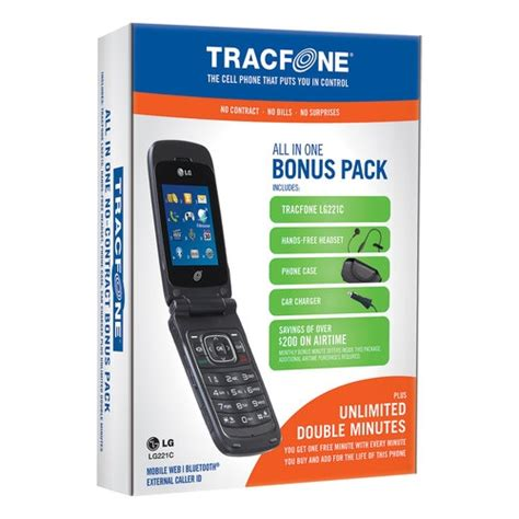 track phone minutes tracfone lg 221c prepaid cell phone bundle with