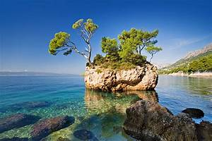 Wallpaper, Croatia, Brela, Sea, Crag, Nature, Scenery, Trees