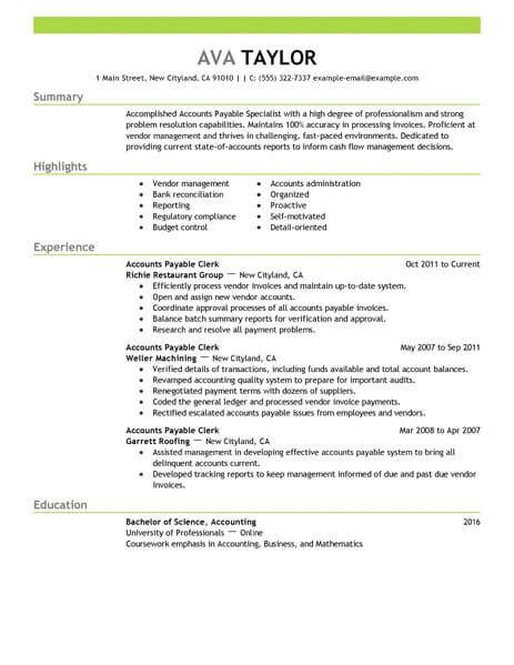 Accounts Payable Resume Summary by Best Accounts Payable Specialist Resume Exle Livecareer