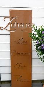 spruch tafel zuhause garten schild metall rost deko With französischer balkon mit rost deko im garten