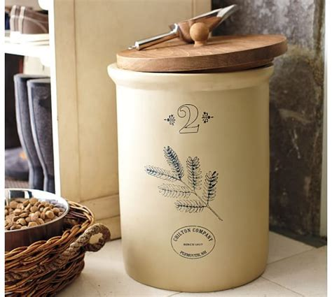 stoneware kitchen canisters vintage pet food storage container with scoop pottery barn