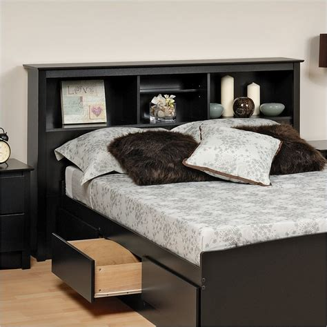 King Size Bed With Bookcase Headboard by King Size Bookcase Storage Headboard Bsh 8445 Prepac