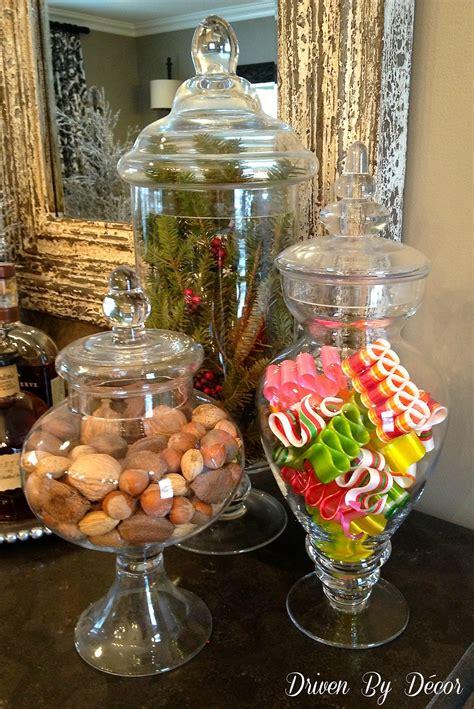 holiday apothecary jars driven  decor