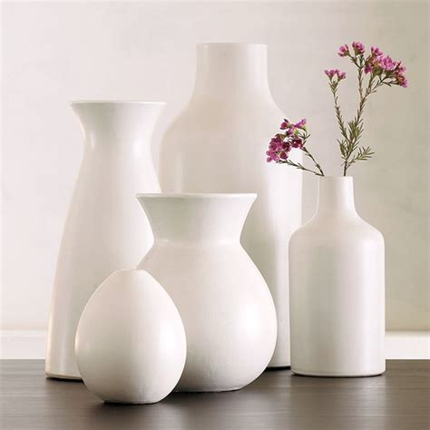 Pure White Ceramic Vase Collection  Contemporary Vases