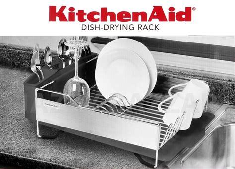 kitchenaid dish rack 3pc kitchen aid black stainless steel dish drying rack