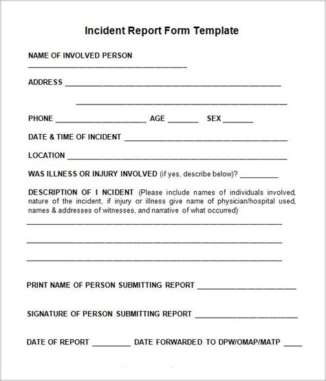 incident report template word 10 incident report templates word excel pdf formats