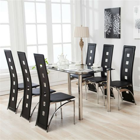 kitchen table for 6 7 dining table set and 6 chairs black glass metal