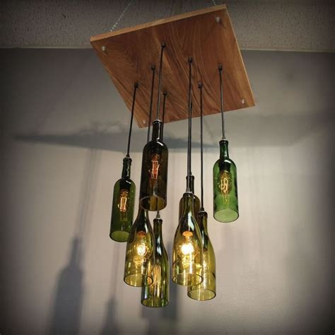 repurposed wine bottle pendant chandelier wood frame
