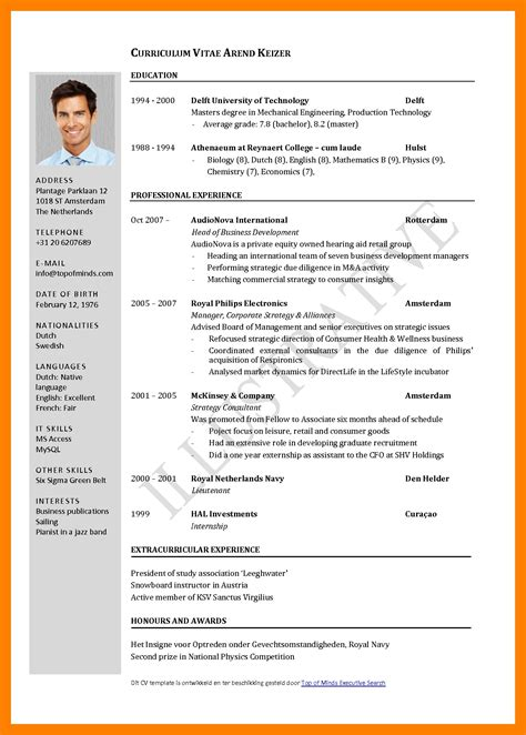 Cv Format by 5 Curriculum Vitae European Format Word Theorynpractice