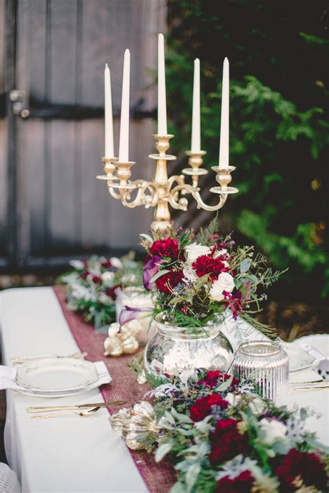 marsala gold romance winter wedding