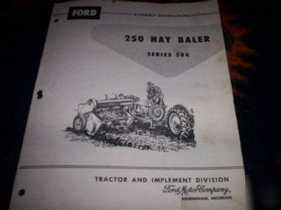 ford  hay baler series  assembly instructions
