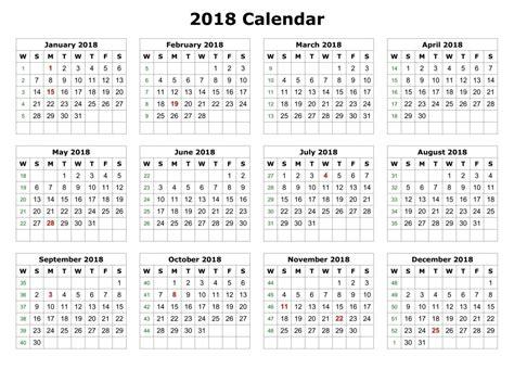 2018 Calendar Template Excel Excel 2018 Calendar Template