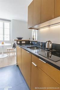 une cuisine ouverte en longueur et en bois cuisine With petite cuisine en bois