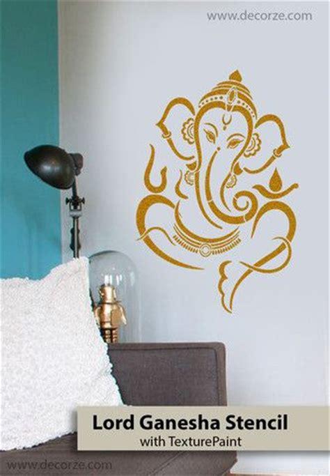 sri ganesh stencil  pooja room interior design