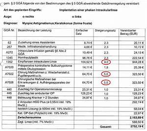 Goä Abrechnung Beispiel : geb hrenordnung bezahlt ihre pkv alle arztrechnungen ~ Themetempest.com Abrechnung