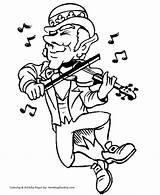 Coloring Patrick Leprechaun Patricks Fiddle Dancing Saint Honkingdonkey sketch template