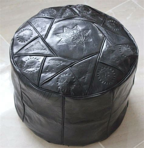 Hassock Ottoman Footstool by Handmade Moroccan Pouf Genuine Leather Pouffe Ottoman
