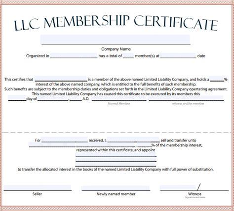 llc membership certificate template 15 membership certificate templates free sles exles format sle templates