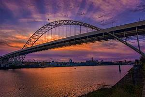Fremont Bridge Sunrise, Portland Oregon Photograph by