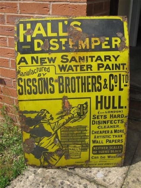 shop stuff  enamel shop sign  halls distemper