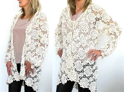 Handmade Cotton Crochet Cardigan Floral Crochet Design Long-sleeve Button-front Crochet Cardigan