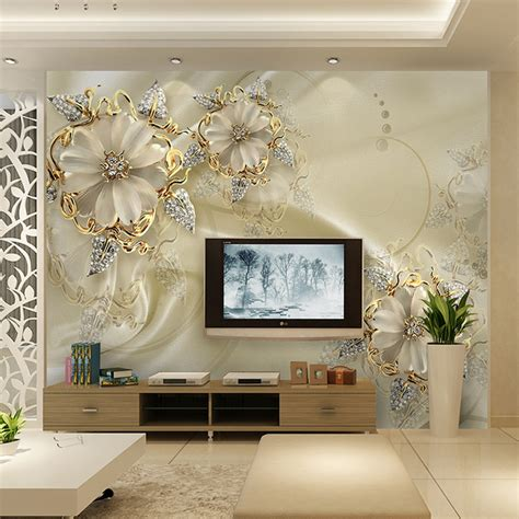 Buy 3D Photo Wallpaper For Walls an Morden Style Flower TV