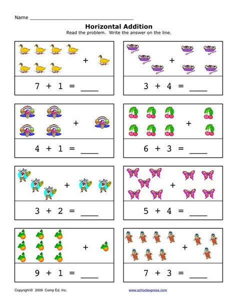 horizontal addition   addition sums