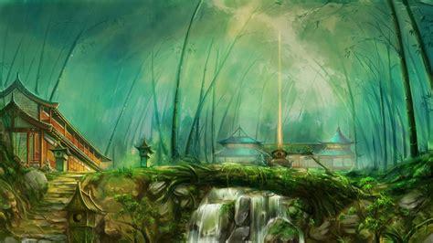 fantasy art forest temple river wallpapers hd desktop