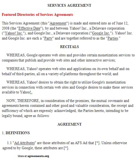 printable  service agreement template form generic