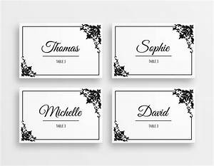printable black white elegant wedding place cards With table placement cards templates