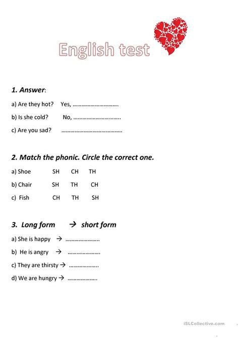 english test unit grade  english esl worksheets